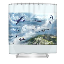 The Mighty Loring A F B Shower Curtain by Dave Luebbert