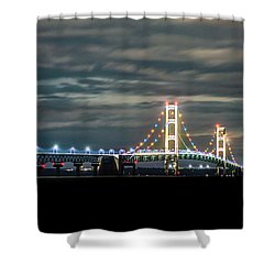 Shower Curtain featuring the photograph The Mighty Mack At Night by Onyonet  Photo Studios