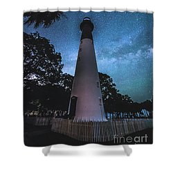 The Milky Way At Saint Helena Light House Shower Curtain by Robert Loe