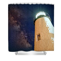 The Milky Way Over Pemaquid Point Shower Curtain by Rick Berk