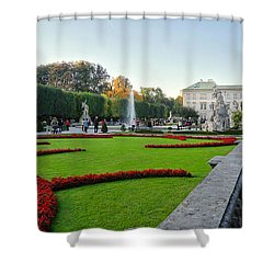 Shower Curtain featuring the photograph The Mirabell Palace In Salzburg by Silvia Bruno