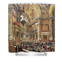 The Miracle Of The Liquefaction Of The Blood Of Saint Januarius Shower Curtain by Giacinto Gigante