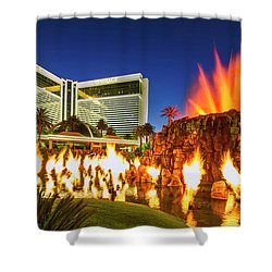 The Mirage Casino And Volcano Eruption At Dusk Shower Curtain