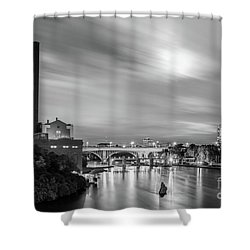 The Mississippi River Night Scene Shower Curtain