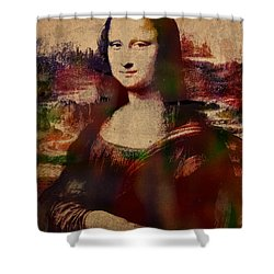 The mona lisa colorful watercolor portrait on worn canvas for Mona lisa shower curtain