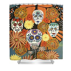 The Monarch's Tree Of Life And The Dead - Day Of The Dead Shower Curtain