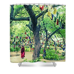 The Monk Among The Prayer Flags Shower Curtain