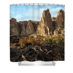 The Monument At Smith Rock Shower Curtain