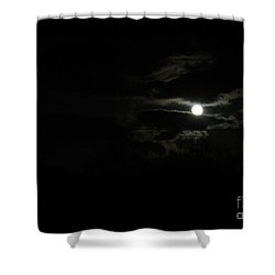 The Moon In Between Shower Curtain by Marie Neder