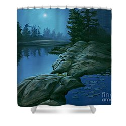 Shower Curtain featuring the painting The Moonlight Hour by Michael Swanson