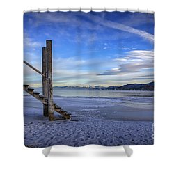 The Morning After Blues Shower Curtain by Mitch Shindelbower