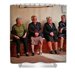 The Morning Gossip Shower Curtain by Angela Wright