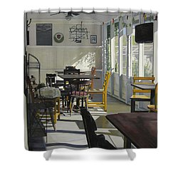 The Morning Paper Shower Curtain by Rebecca Zook