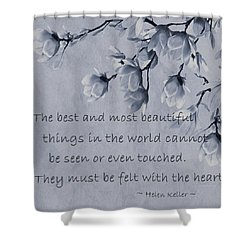 Shower Curtain featuring the mixed media The Most Beautiful Things In The World by Movie Poster Prints