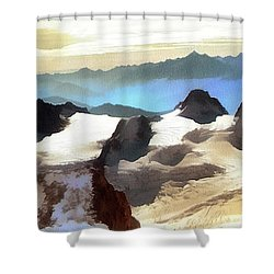 Shower Curtain featuring the painting The Mountain Paint by Odon Czintos