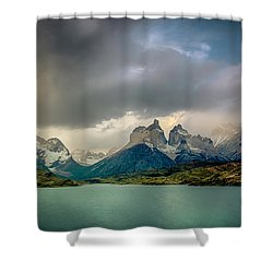 The Mountains On The Lake Shower Curtain by Andrew Matwijec