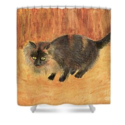 The Mouser, Barn Cat Watercolor Shower Curtain