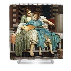 The Music Lesson Shower Curtain by Frederic Leighton