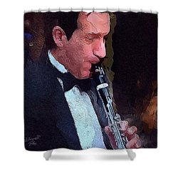 The Musician Shower Curtain by Ted Azriel
