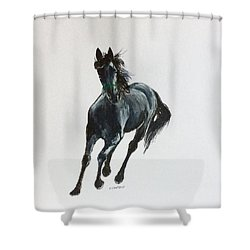 Shower Curtain featuring the painting The Mustang by Ellen Canfield