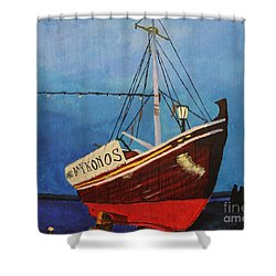 The Mykonos Boat Shower Curtain