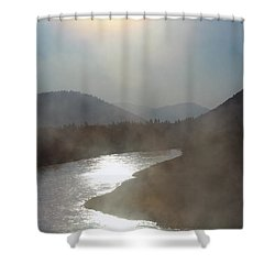 Shower Curtain featuring the photograph The Myth Starts Here by Silke Brubaker