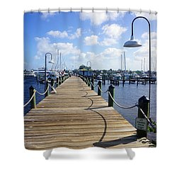 The Naples City Dock Shower Curtain