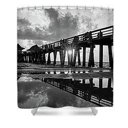 Naples Pier At Sunset Naples Florida Black And White Shower Curtain