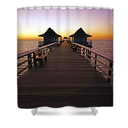 The Naples Pier At Twilight Shower Curtain by Robb Stan