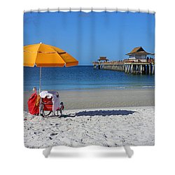The Naples Pier Shower Curtain by Robb Stan