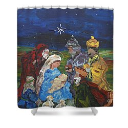 The Nativity Shower Curtain by Reina Resto