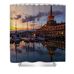 the nautical station and the yacht on the main sea channel of the Sochi seaport Shower Curtain