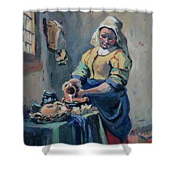 The New Milkmaid Shower Curtain by Nop Briex