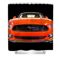 The New Mustang Shower Curtain by Vicki Spindler