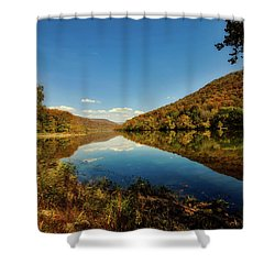 The New River In Autumn Shower Curtain by L O C