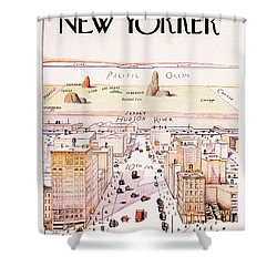 The New Yorker - Magazine Cover - Vintage Art Nouveau Poster Shower Curtain