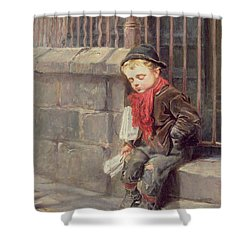 The News Boy Shower Curtain by Ralph Hedley