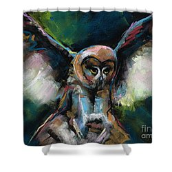 Shower Curtain featuring the painting The Night Owl by Frances Marino