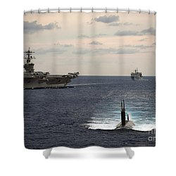 Shower Curtain featuring the painting The Nimitz-class Aircraft Carrier Uss Carl Vinson And A Submarine by Celestial Images