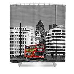 The No 43 To London Bridge Shower Curtain by Hazy Apple