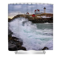 The Nubble After A Storm Shower Curtain by Rick Berk