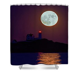 The Nubble And The Full Moon Shower Curtain by Rick Berk