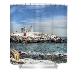 The Nubble Light Shower Curtain by Adrian LaRoque