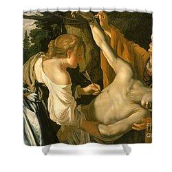 The Nursing Of Saint Sebastian Shower Curtain by Theodore van Baburen