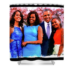 The Obama Family Shower Curtain by Ted Azriel