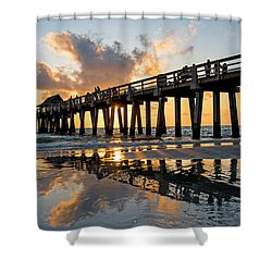 Naples Pier At Sunset Naples Florida Ripples Shower Curtain