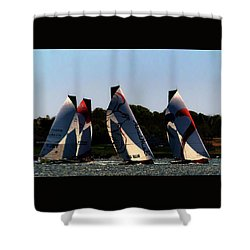 Shower Curtain featuring the photograph The Ocean Race by Tom Prendergast
