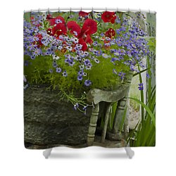 The Old And New - Digital Oil Shower Curtain by Sandra Foster