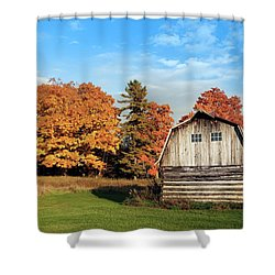 Shower Curtain featuring the photograph The Old Barn In Autumn by Heidi Hermes