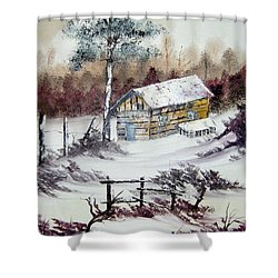 The Old Barn In Winter Shower Curtain